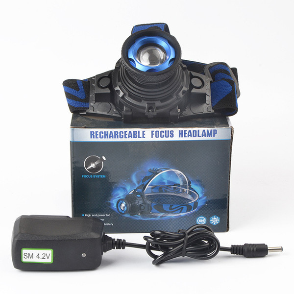 Headlamp with LED Flashlight Adjustable 90 Degree Headlamp Zoomable Light For Hunting Camping Climbing with Retail Package DHL Free OTH341