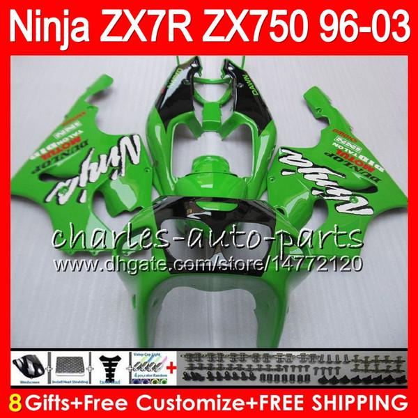 8Regalos 23Colores para KAWASAKI NINJA ZX7R 96 97 98 99 00 01 02 03 18HM11 verde negro ZX750 ZX 7R ZX-7R 1996 1997 1998 1999 2000 2003 Carenado