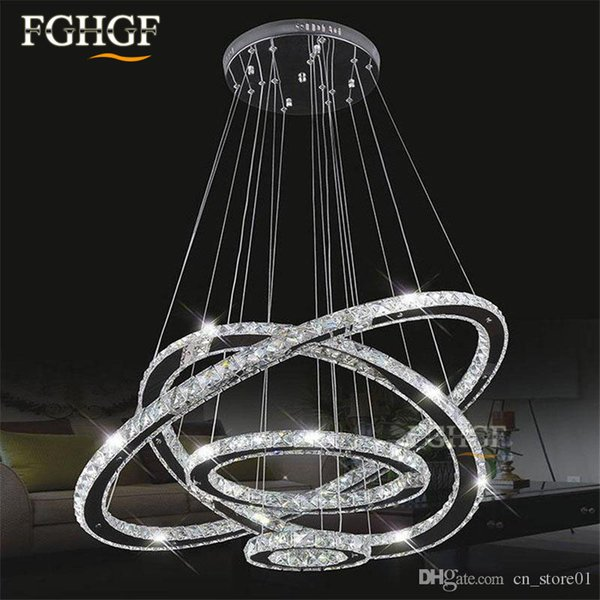 Modern LED Diamond Ring Chandeliers Chrome Mirror Finish Stainless Steel Room Hanging Lamp LED Chandelier Lustres