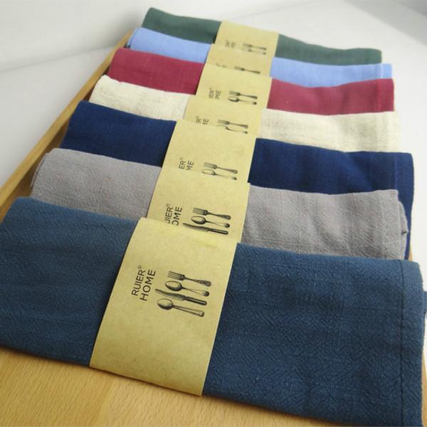 top popular Good water absorption Plain color linen napkin Tea towels 2021