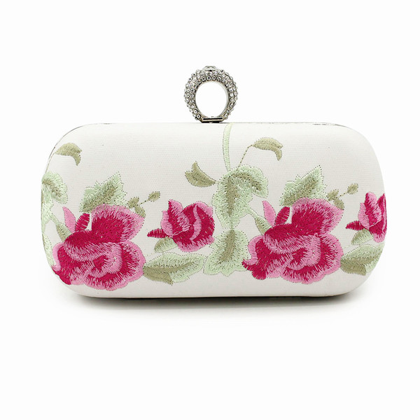 76f17aedc16 Handmade Flowers Clutch Chinese Style Embroidery Flower Cotton Hand Bag  Ring Diamond Chain National Wind Vintage Evening Handbags Handbag Brands ...