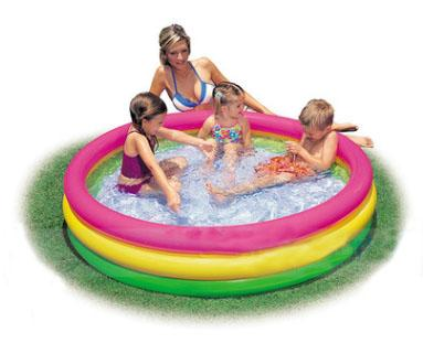 3 Rings Family Paddling Pool Swimming Pool Sea Pool Inflatable Bottom Sand Pit for Kid Child