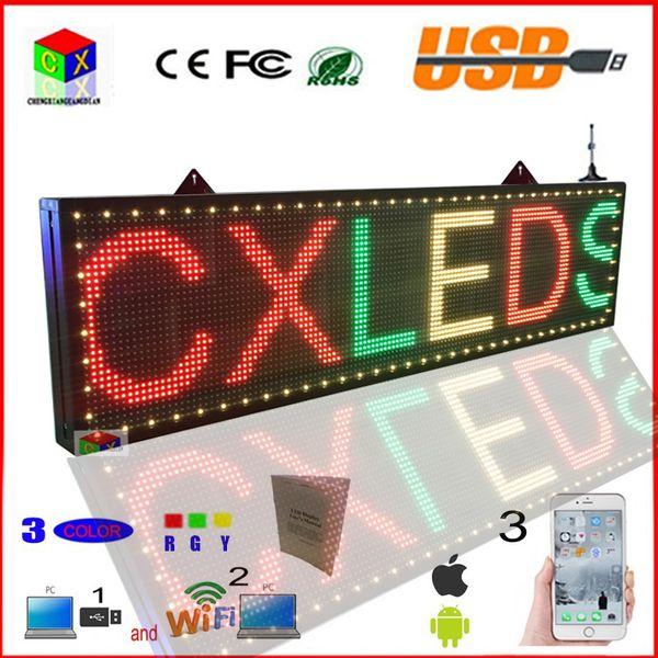 Signe LED 3 couleur 78x11 pouces wifi rgy programmable led défilement écran intérieur message ouvert panneau