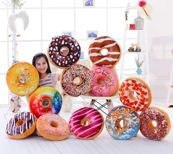20PCS Christmas Gift Doughnut Hamburger Chair Seat Cushions Emoji Pillows Lovely Cute Plush Toys Doughnut Cushion for Girl