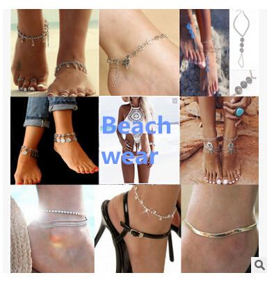 best selling Bohemian bikini Women foot anklet chain holiday beach wear jewelry gift Bracelets Silver Plated Turquoise Foot Chain Anklets Accessories