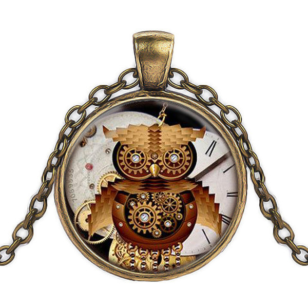 Foreign trade hot sale retro glamor Steampunk Owl clock pendant cabochon glass time gemstone necklace personality handmade jewelry men and