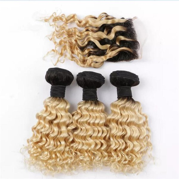 1B 613 Blonde Dark Root Ombre Hair With Lace Closure Deep Wave Curly Ombre Peruvian Two Tone Human Hair Bundles With Top Closure