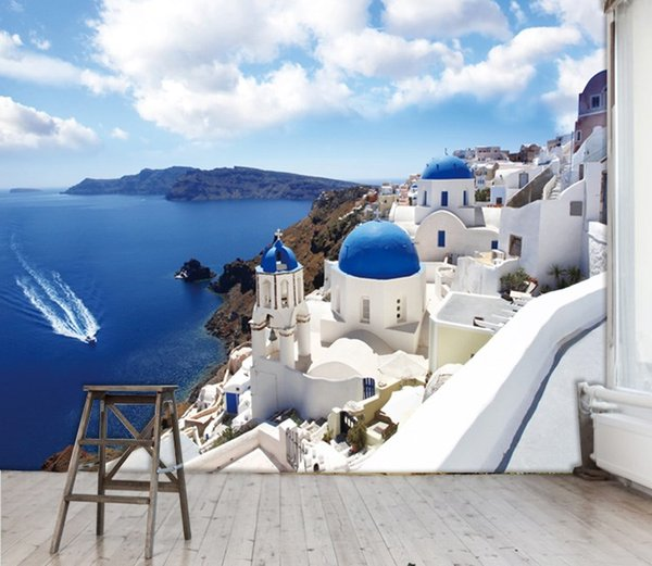 Selling large murals 3 d landscape paintings The Mediterranean Aegean sitting room TV setting wall paper wall