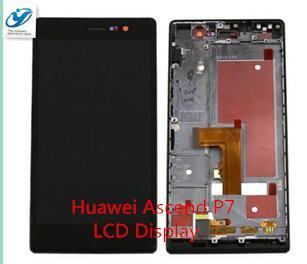 Al por mayor- Para Huawei Ascend P7 pantalla táctil + reemplazo de marco de montaje de pantalla LCD para precio al por mayor negro