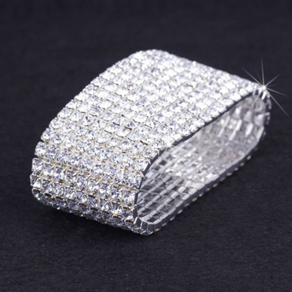 6 pieces Wholesale Lots nine rows Bangle Wedding Bridal Party Jewelry Crystal Rhinestone Stretch Bracelet Bangle Multi Row Wedding Bracelets