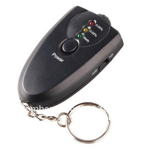 300pcs/lot # LED Light Accurate Breathalyzer Flashlight Breath Alcohol Tester Testers Keychain Key Chain Only Black Color 0001