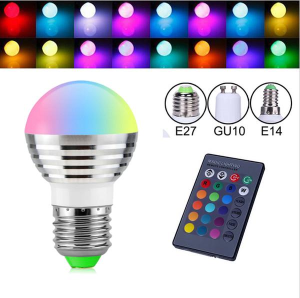 E27 B22 E14 GU10 16 Color cambiable RGB Magic 3W LED Lámpara de lámpara de foco 85-265V 110V 220V Luz de foco LED + Control remoto IR