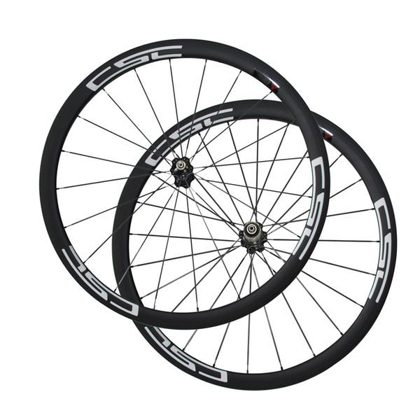 Carbon Wheels 700C Full Carbon 38mm Clincher Tubular Road Bike Wheelset CSC Decals Fiber road bike Wheels Racing Bicycle Wheelset