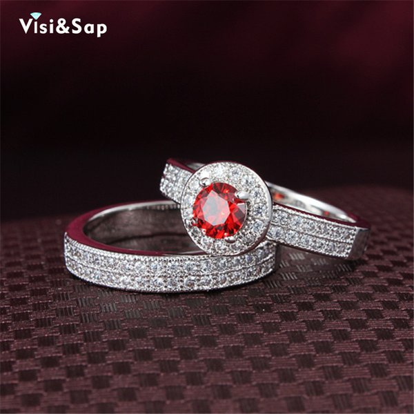Visisap Couple ring set White Gold color rings for women lovers wedding bands gifts ring engagement Bijoux Jewelry MSR091