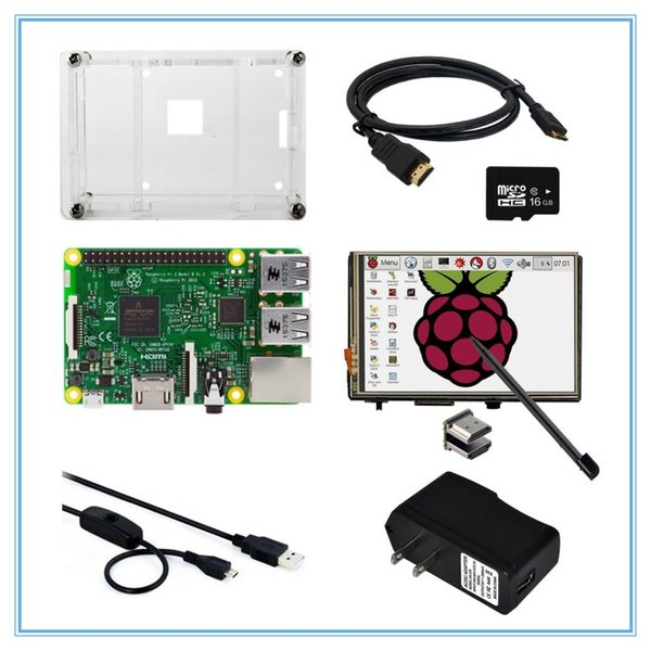 Freeshipping 8 in 1 Raspberry Pi 3 Model B Board+3.5 Inch LCD HDMI Touch Screen + Case +Power Adapter+USB Power Cable+16GB TF Card