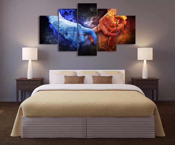 Wholesale HD Printed Abstract Hands of Love Oil Paintings for Wedding Room Decoration Art Wall Pictures No Frame