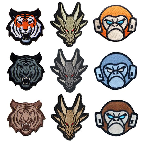 30 PCS Tactical Monkeys Tiger Dragon Embroidered Morale Patch Hook&Loop Embroidery Badge Decorative Patches Wholesale free ship