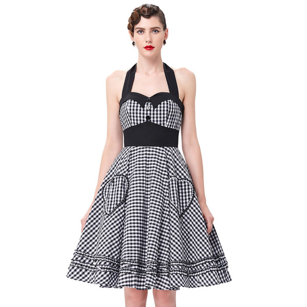 5ed21ac52ff Wholesale- Summer Style Women Dress 2016 Plus Size Audrey Hepburn Gowns  Plaid Robe 50 s 60s Vintage Rockabilly Pin Up Swing Vestidos Dress
