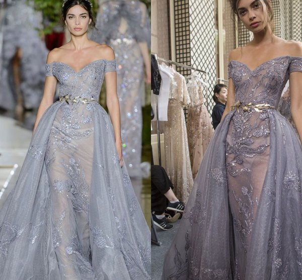 2018 Zuhair Murad Evening Dresses with Overskirt Dust Gray Lace Shiny Off Shoulder Full length Elegant Prom Gown with Detachable Train