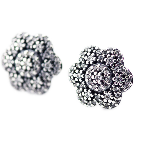 2016 Crystallised Floral Earring Studs 100% 925 Sterling Silver earring Fit Pandora Charms earring Authentic DIY Bead Fine Jewelry