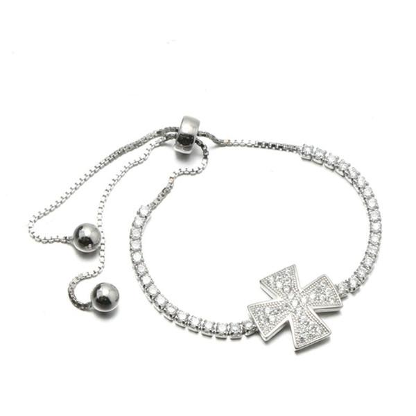 Hot Sale Fine Jewelry 925 Sterling Silver Women's CZ bracelet Cross Charm Silver Beads Infinity Bracelet MB00169