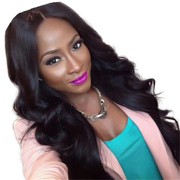 Super quality 1b loose wave brazilian virgin human hair lace front wig for black women free shipping
