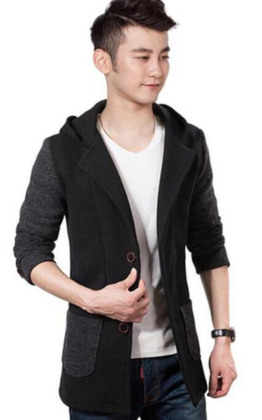 Qiu dong han edition men fashion New England cultivate one's morality single-breasted woolen cloth trench coat / M-3XL