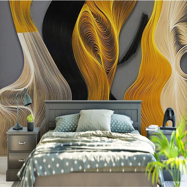 Grand sans couture 3D nouvelles lignes géométriques chinoises or abstraite salon canapé chambre chambre à coucher murs murs papier peint