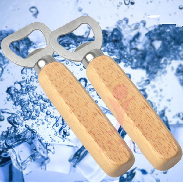 Wood Kitchen Bottle Opener Tools Stainless Steel Wooden Handle Beer Openers Bar Tools Soda Beer Bottle Cap Opener Gifts