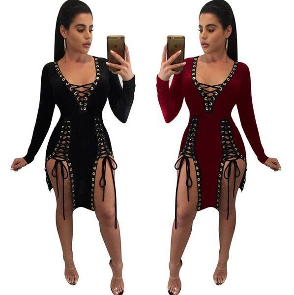 2017 manga longa inverno mulheres sexy criss nigh club desgaste profundo v bandage bodycon vestidos de festa primavera outono vinho vermelho preto oco out dress