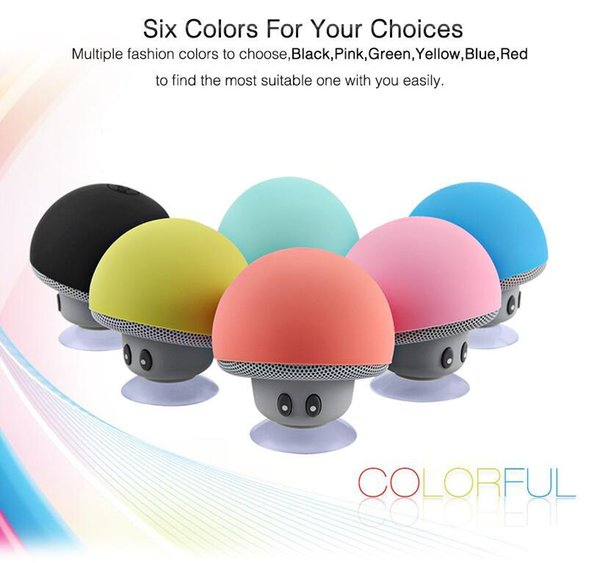 BT280 Mini Mushroom Speakers Subwoofers Bluetooth Wireless Speaker Silicone Suction Cup Cell Phone Tablet PC Stand Free Shipping