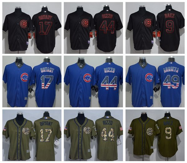 innovative design 6b292 62722 2019 2017 Chicago Cubs Black Flag Green Salute #17 Kris Bryant #44 Anthony  Rizzo #9 Javier Baez Stitched Baseball Jerseys Best Quality From Greatace,  ...