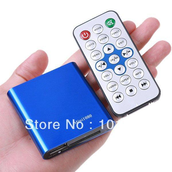 Wholesale- Free Shipping!Car Media Player,Mini Full HD 1080P Player with Remote Control AV HDMI Output USB/SD MKV/RM/AVI With AV Cable