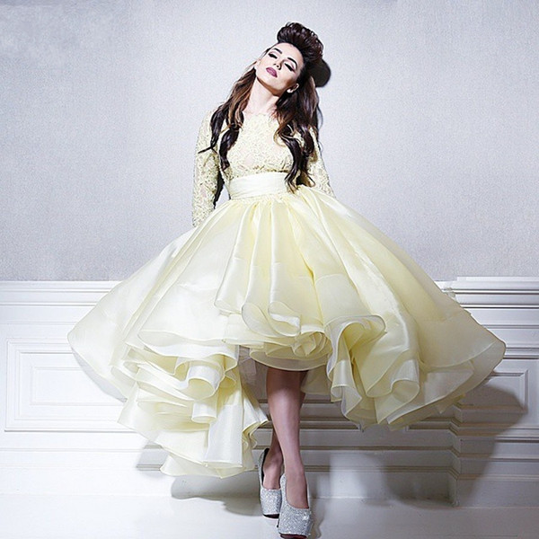 Light Yellow Prom Dresses Ball Gown Lace Long Sleeves Jewel Fluffy Organza Party Dresses Lovely Knee Length Evening Dress Pretty Formal Wear