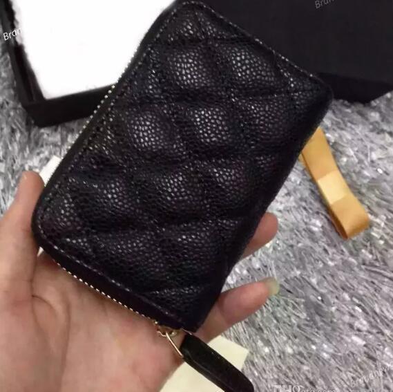 69271 mulheres genuíno preto pele de carneiro caviar couro bolsa pequena bolsa com zíper titulares de cartão de identificação