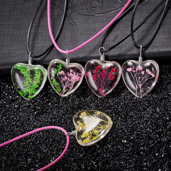 Wholesale Crystal Heart Dandelion Seed Necklaces Heart Pendants For Women  Terrarium Jewelry Christmas Gift Costume Jewellery Jewelry From