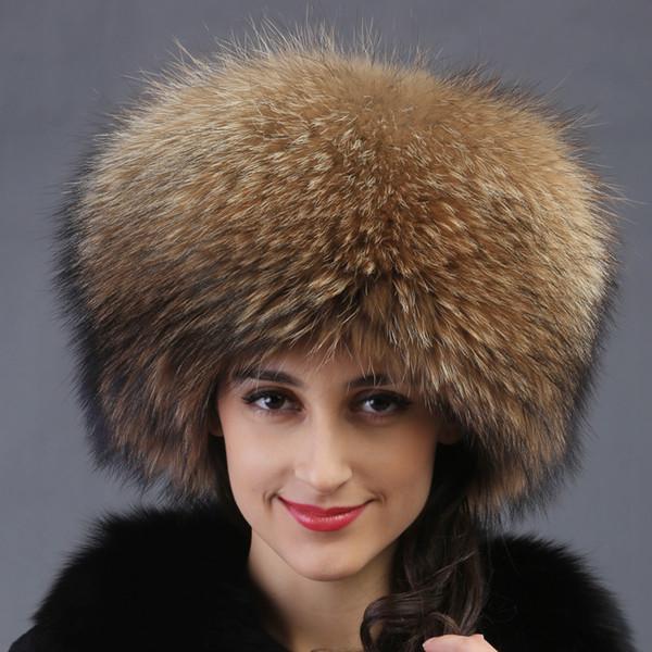 All'ingrosso-autunno inverno Super caldo sotto zero spettacolo donne genuine rex racoon pelliccia stile russo cap lady luxur pelliccia cappello capelli pelliccia di volpe