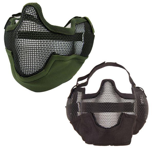 Protection contre le vent en plein air multifonction Airsoft Paintball Mesh Protection Masque Moitié Visage Protéger avec Oreilles Anti-terrorisme Bilayer