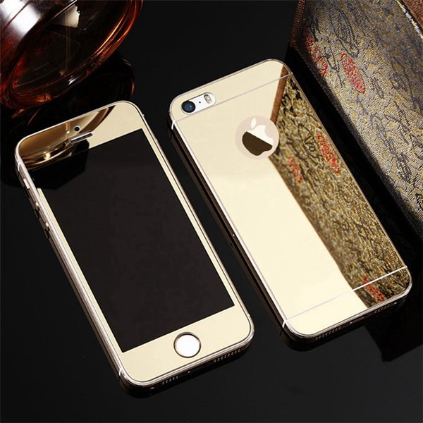 Front+Back Protective Plating Mirror Tempered Glass Film For Apple iPhone 5 5S SE 7 7 Plus Explosion-Proof Screen Protectors