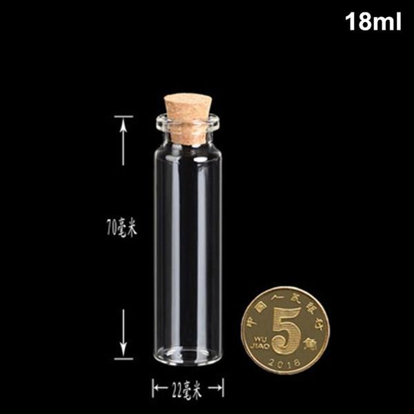 100PCS 18ml piccola bottiglia adorabile piccola chiara vuota Wishing Glass Message Vial con tappo di sughero 22mm * 70mm contenitori