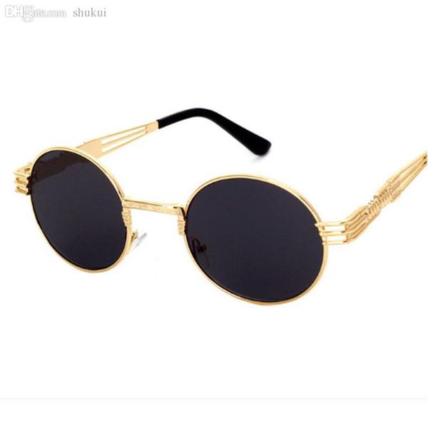 Atacado-novo vintage retro gothic steampunk espelho óculos de sol de ouro e preto óculos de sol do vintage círculo redondo homens UV gafas de sol hombre