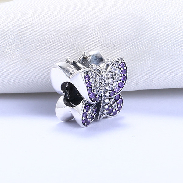 Real 925 Sterling Silver Not Plated Purple Butterfly Beads CZ European Charm Bead Fit Pandora Snake Chain Bracelet DIY Jewelry