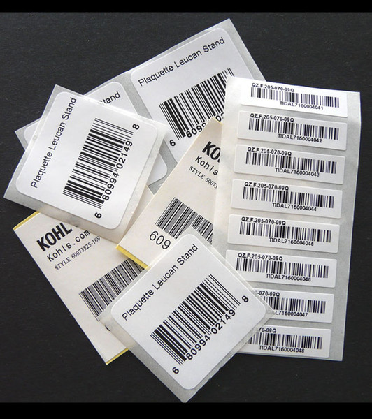 Custom barcode labels UPC(A) 12 digits Adhesive barcode stickers printing in black Semi-gloss paper bar code labels on rolls for electronics