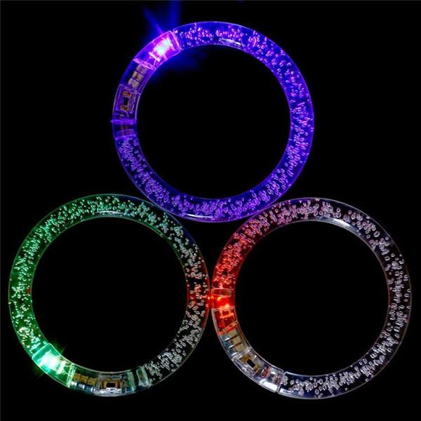 Christmas Gift LED Bubble Bracelet Light Up Flashing Glowing Bracelet Blinking Crystal bracelet Party Disco decorate Halloween Toys