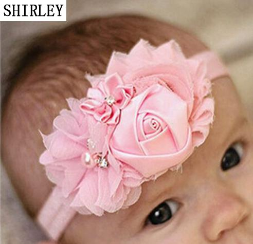 SHIRLEY Baby Hair Band Polygonal Flower can retial 30 wholesale prices Elastic Soft Hair Ornaments Headdress Eight-Color Girl Presen