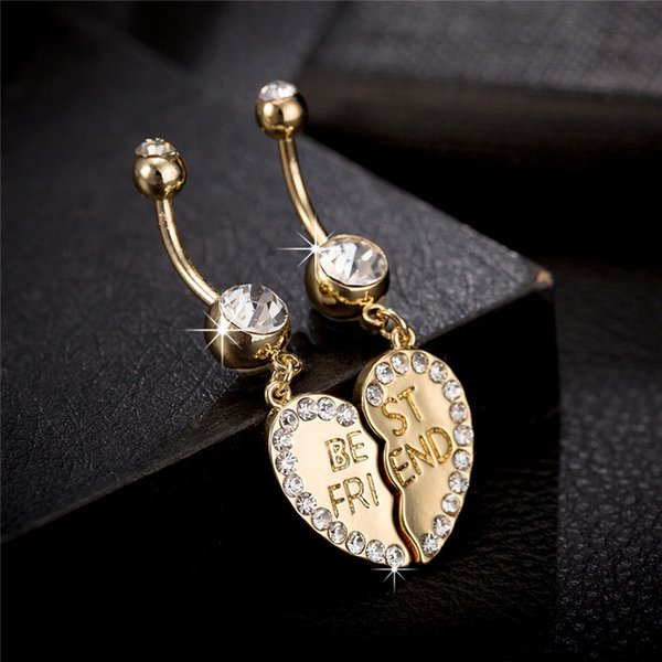 1Pair CZ Crystal Best Friend Heart Twins Belly Ring Button Ring for Hot Sexy Girls Women for Bar Party Ring