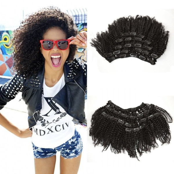 Clip In Hair Extensions For Black Women 100% Human Hair Virgin Mongolian Afro Kinky Curly Clip Ins G-EASY