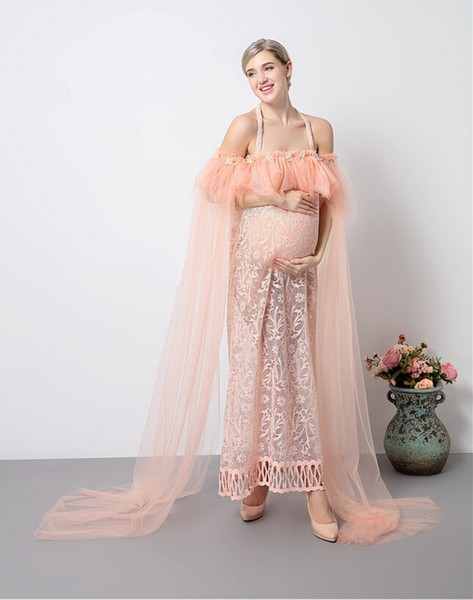 5c1a8e8c1120 Fashion Maternity Photography Props Fancy pregnant women Dresses Pregnancy  Clothes Chiffon Dress Photo Shoot Session Dress