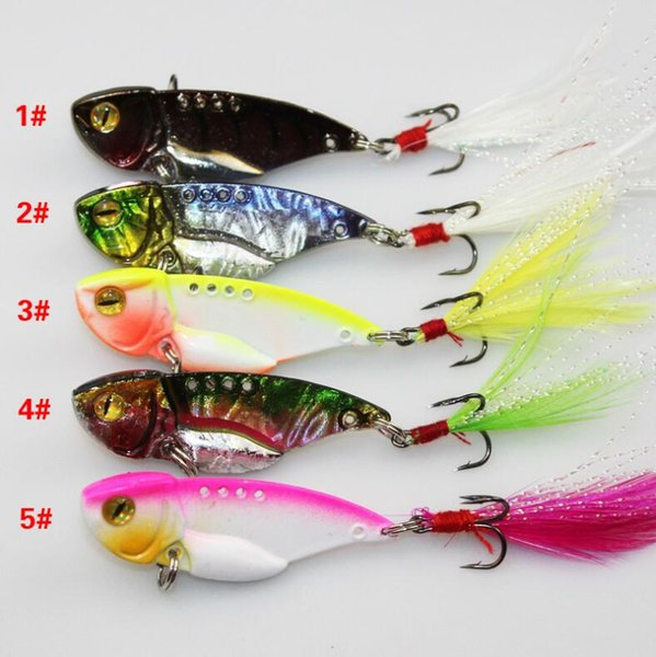 Top Design Colorized 5PCS Metal VIB Baits or 5cm 11g Flutter Spinnerbaits Fishing Lure with Feather Hook for Fly Fishing