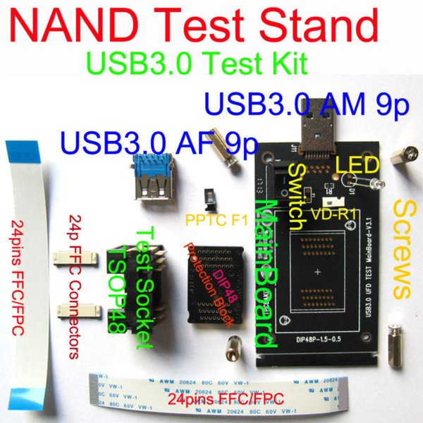 Atacado-USB3.0 / 2.0 NAND TEST Stand, IC Erase / Teste / Classificar / Burn-in Kits, compatível com USB2.0, FFC / FPC Connector, esquema de soquete substituível